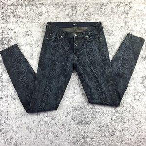 7 Snake Print Mid-rise Skinny Jeans